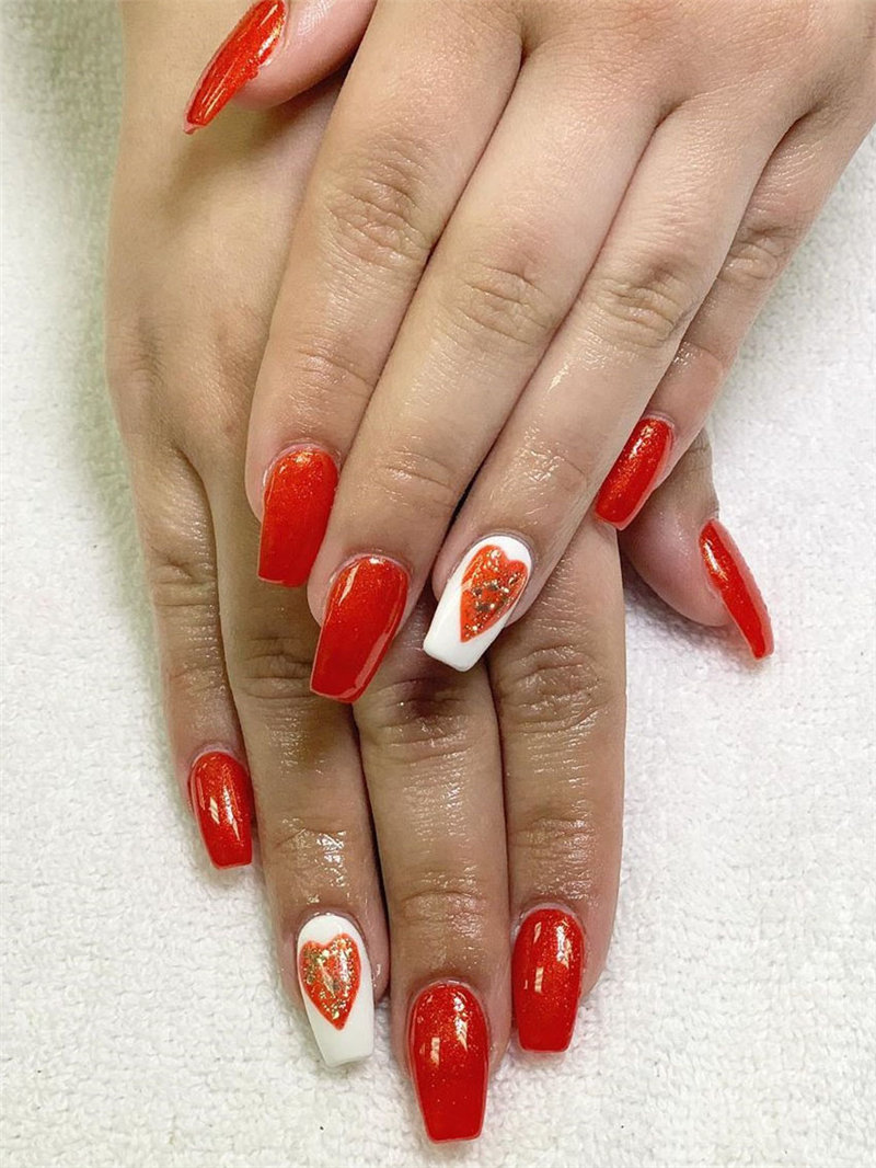 60 pink, red, and white valentine's day nail ideas. We have gathered the best Valentines nails for you to find your Valentine's Day nail art inspiration. Click to see more nail art ideas. #NailArt #ValentineNails