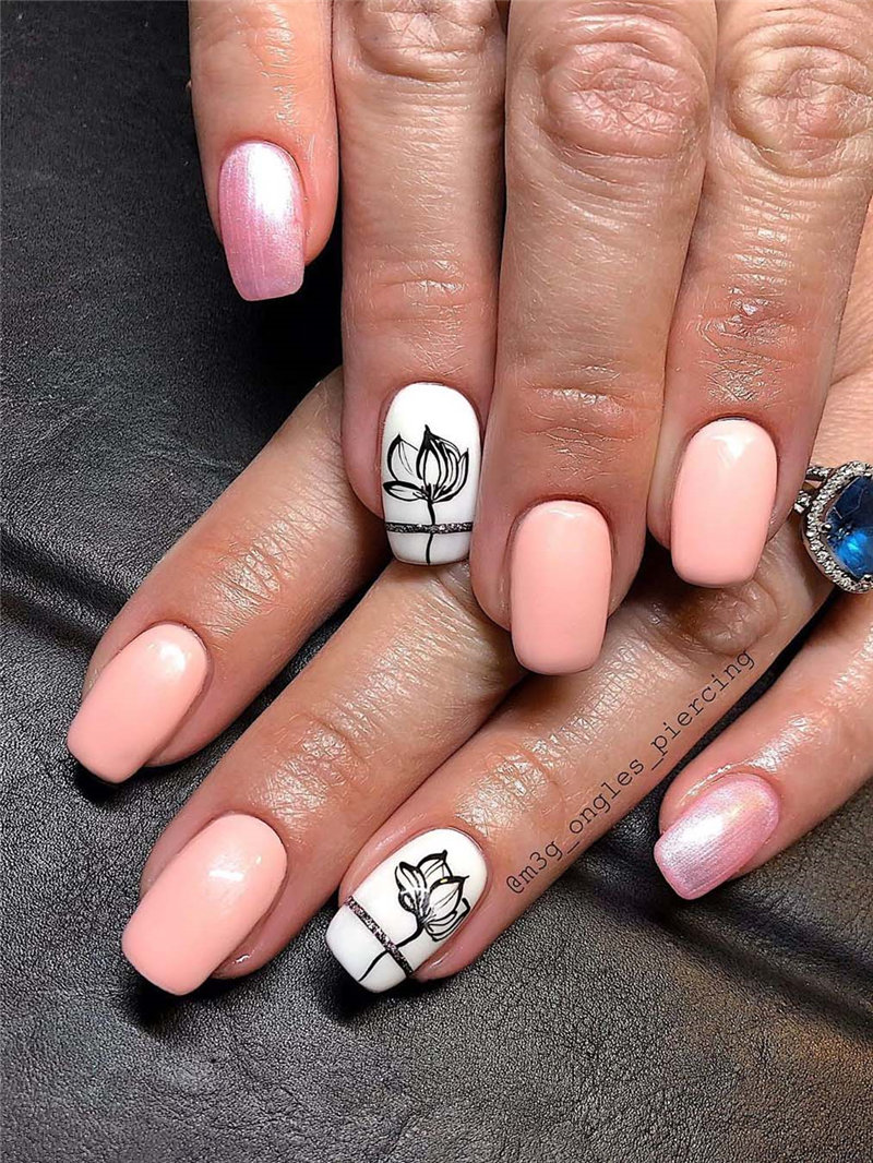 35 Spring Nail Design Trends and Colors. We have gathered the best spring nails ideas including beautiful flower,  greens, pinks, yellow and so on. You can try with the spring nails designs. #NailArt #springnails